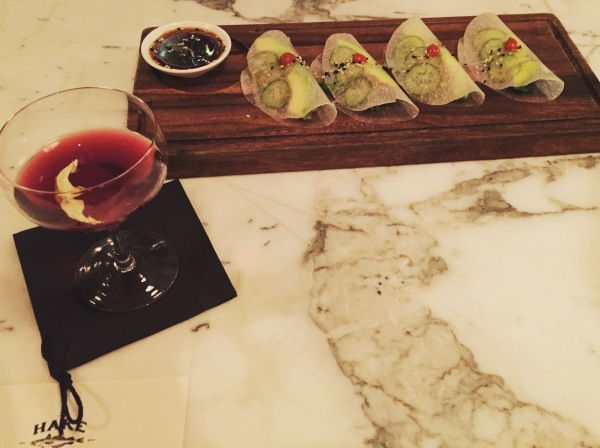 "Ahi ""tacos"" and the black rose cocktail at The Hake"