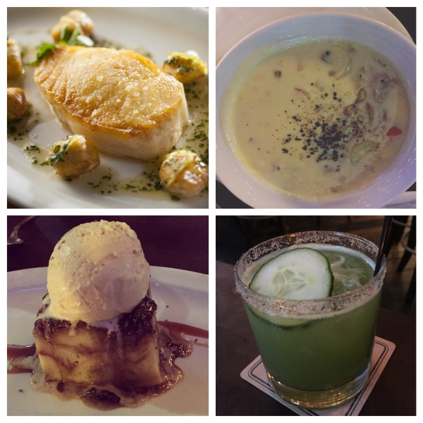 The Chilean sea bass, clam chowder, margarita verde, and caramel bread pudding at Water Grill
