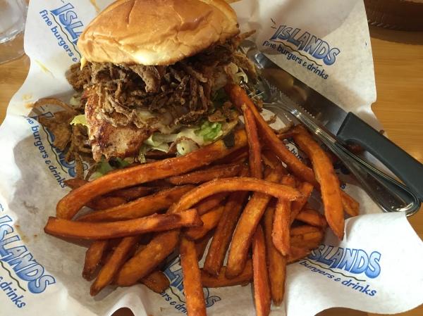 Kilauea Burger (with chicken) at Islands Restaurant
