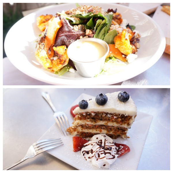 The Mexican shrimp & papaya salad and carrot cake from Museum Cafe