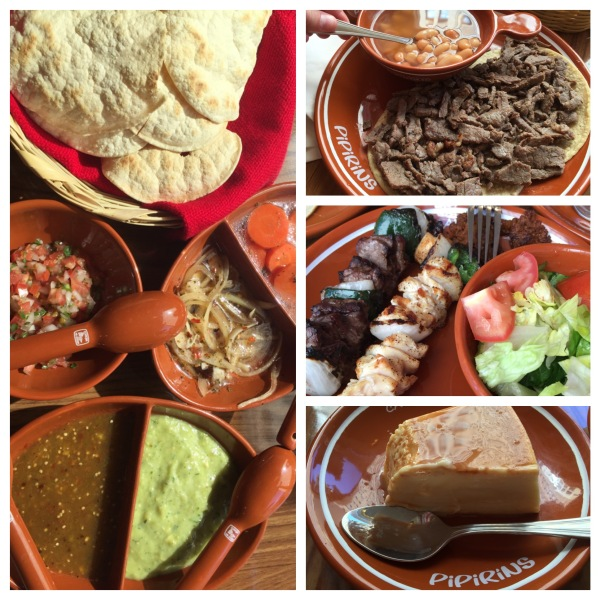 Carne asada, Peruvian beans, skewers, salsas and flan at Pipirins
