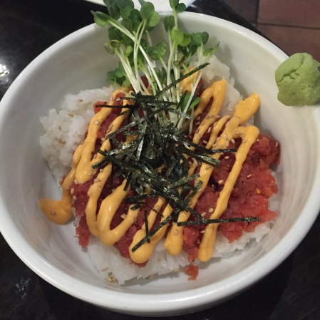 Spicy tuna bowl at Tajima