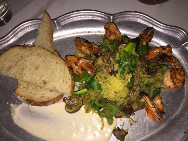 The spaghetti squash and shrimp at Cafe 21