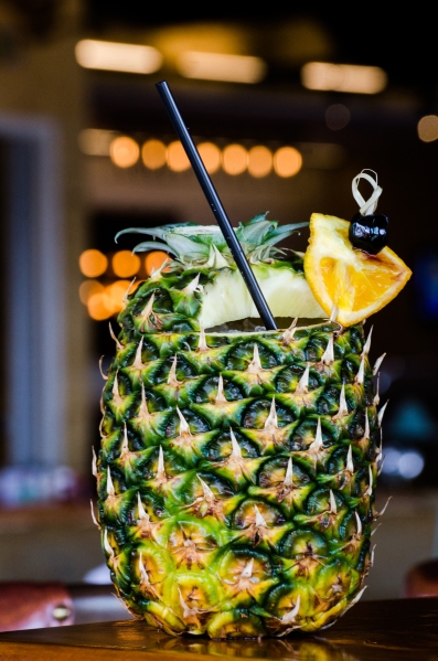 The bird of prey cocktail at Hello Betty Fish House is served in a pineapple