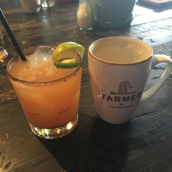 Spicy grapefruit margarita and chai latte