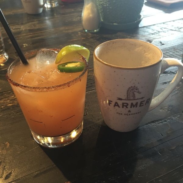 Spicy grapefruit margarita and chai latte