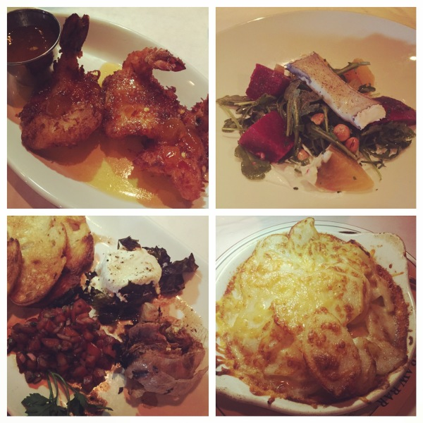 Coconut shrimp, beet & goat cheese salad, scalloped potatoes, and roasted garlic