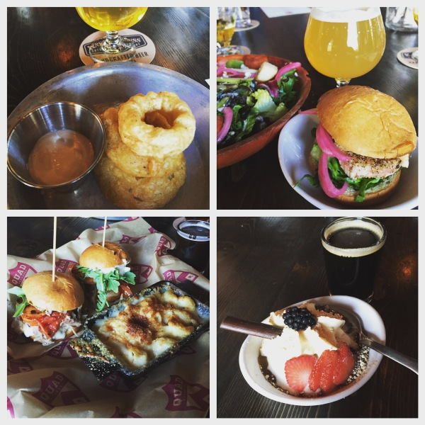 Onion ring stack, ahi slider and apple & bleu cheese salad, brisket & pulled pork sliders and smoked mac n' cheese, snikker's bar