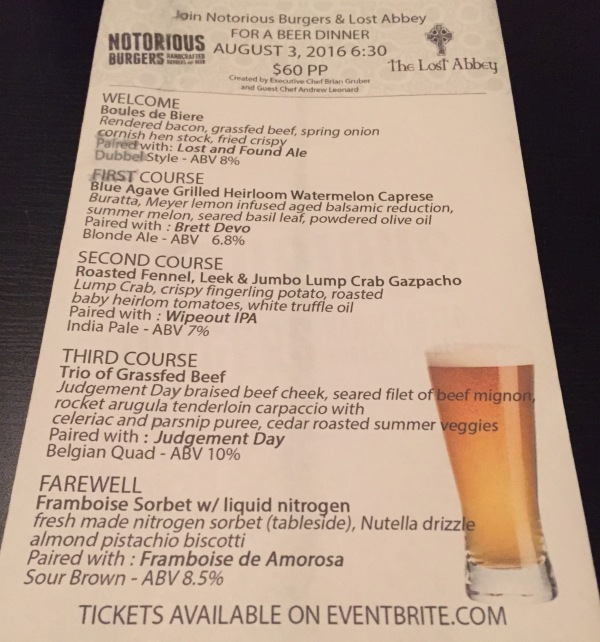 Beer-pairing dinner menu with The Lost Abbey on Aug. 3