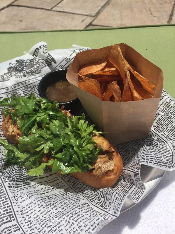Maple-braised chicken sandwich
