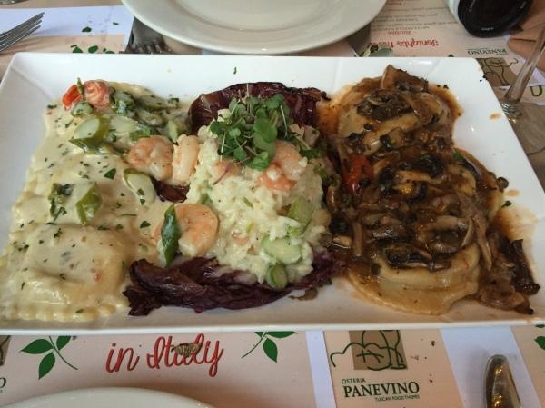 Risotto radicchio e gamberetti, lobster ravioli, lamb ravioli