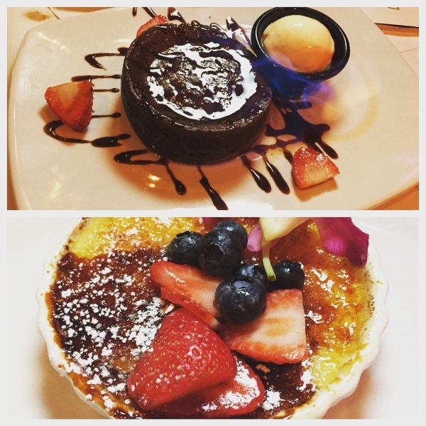 Molten lava chocolate cake, Tahitian vanilla bean creme brûlée