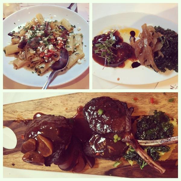 Wild boar pasta, foie gras, elk chop, buffalo tenderloin
