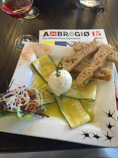 Carpaccio di zucchine e burrata insalate