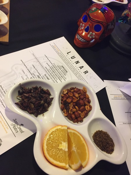 Table snacks including chapulines and Oaxacan-style peanuts
