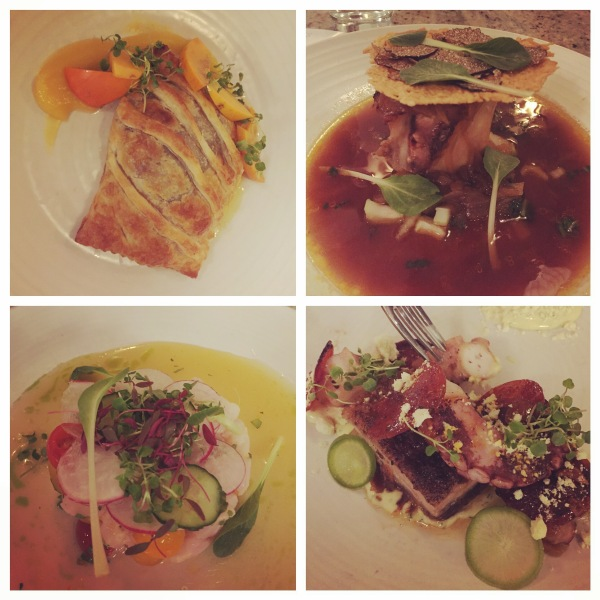 "Foie gras ""pop tart,"" French onion soup, Spanish octopus with pork belly, Fish"