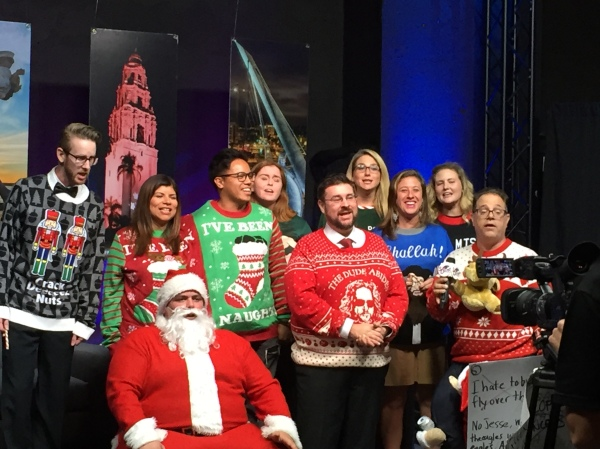 Special guest David Moye presents ugly Christmas sweaters during the live-taping of Tonight in San Diego