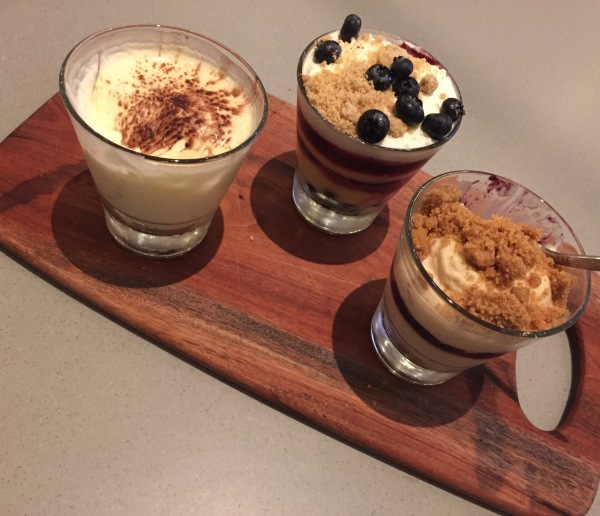 Tiramisu, blueberry-lemon custard, PB&J custard