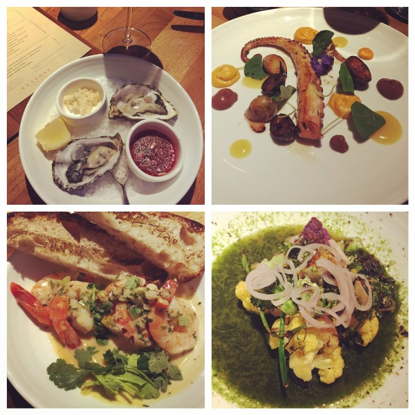 Raw oysters, slow-cooked octopus, brassicas, spicy shrimp at Seasons Restaurant